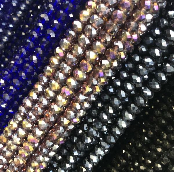 12mm Faceted Glass Rondelle Beads